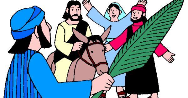 Jesus entering Jerusalem on a donkey on Palm Sunday visuals for.