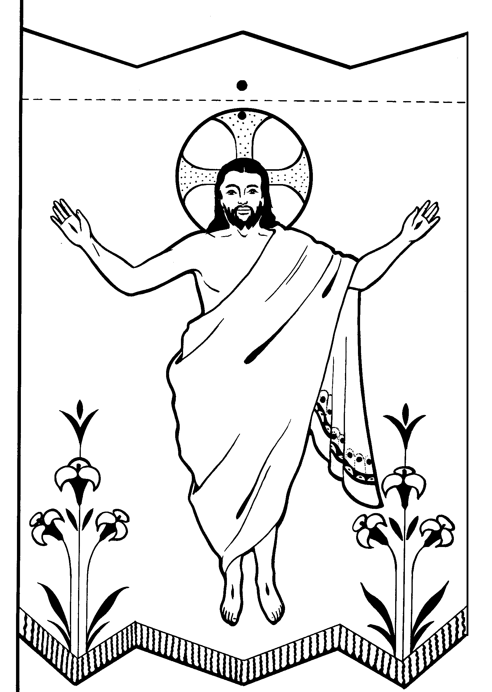 Free black and white clipart jesus rising from the dead.
