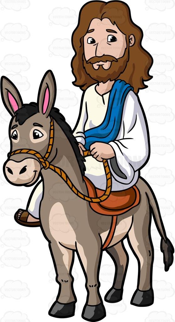 Jesus Riding A Donkey Cartoon Clipart.