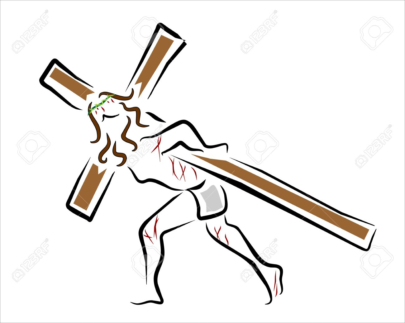Jesus Christ Carrying The Cross Of Wood Royalty Free Cliparts.