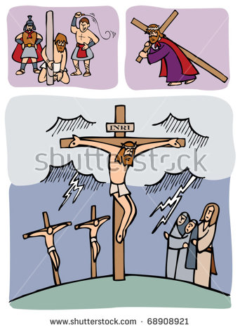 Passion Christ Jesus Whipped By Romans Stock Vector 68908921.