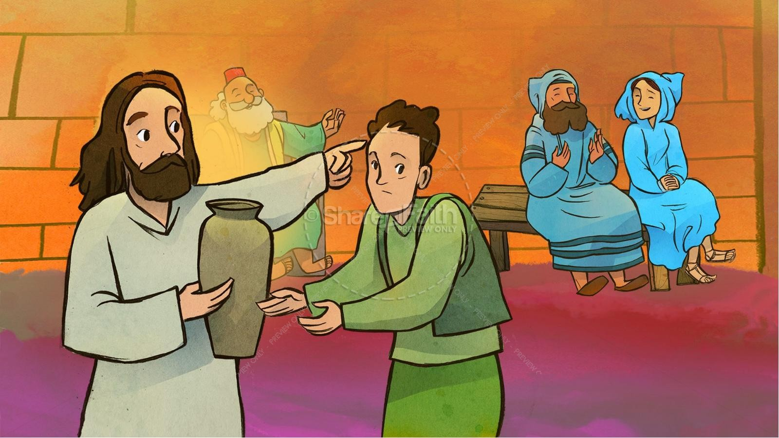 Jesus Turns Water Into Wine Kids Bible Story.