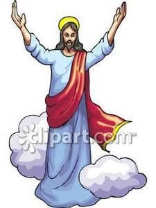 Jesus Walking Among Clouds, His Arms Raised.