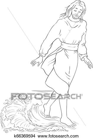Bible story. Jesus walking on water. Vector cartoon christian coloring page  Clipart.
