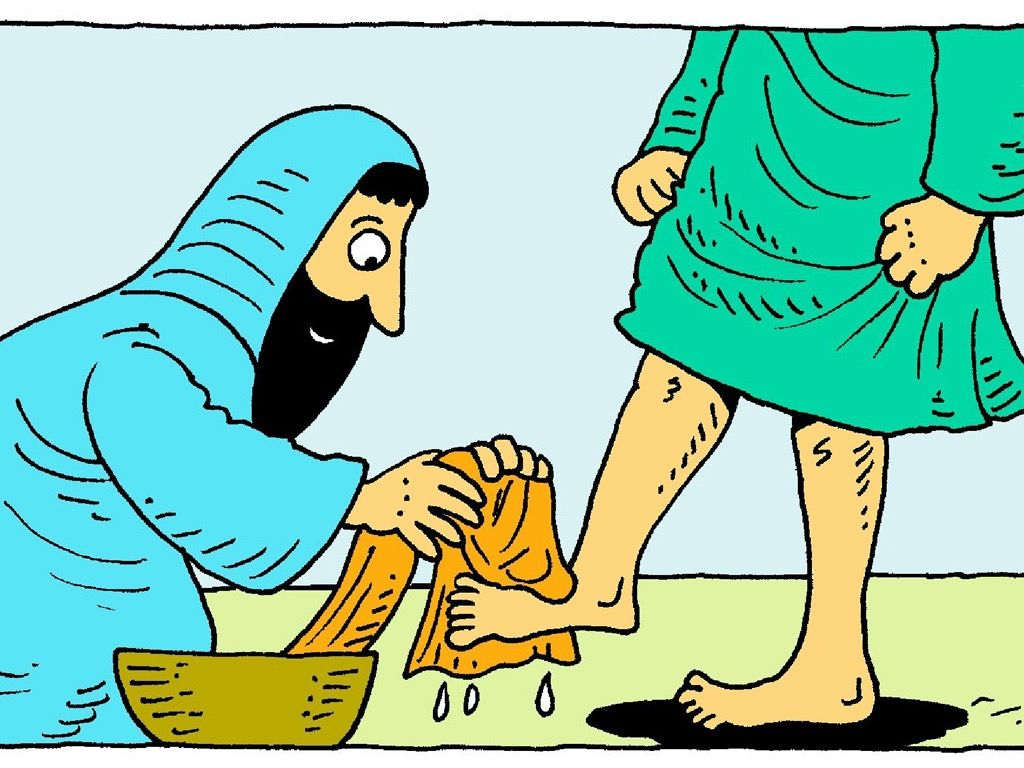 FreeBibleimages :: Washing feet :: Jesus takes on the role of a.