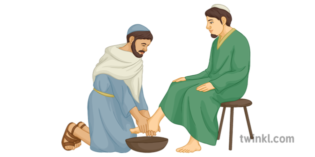 Jesus Washing His Disciples Feet Last Supper Christian Bible.