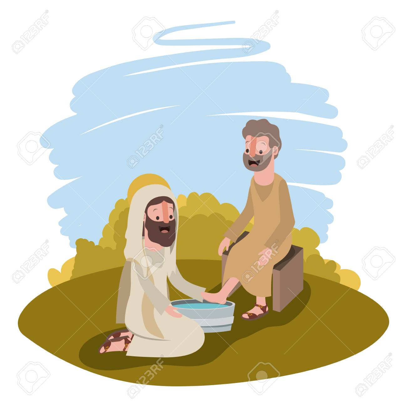 Jesus washing the feet of an apostle in the camp vector illustration...