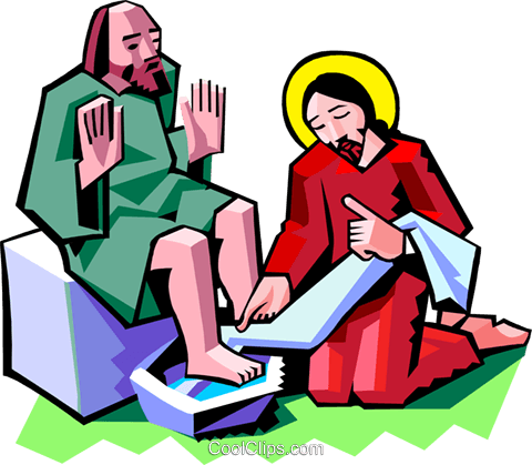 Jesus washing the feet of a disciple Royalty Free Vector Clip Art.