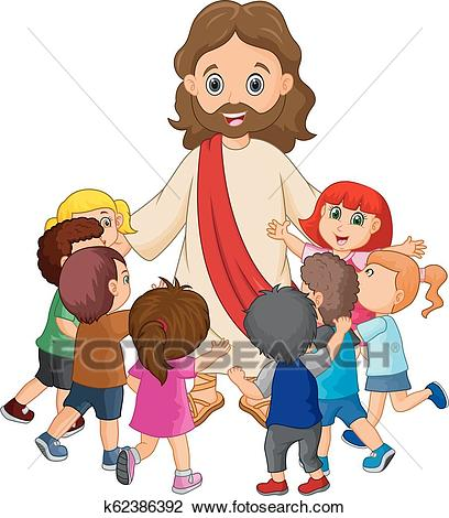 Cartoon Jesus Christ being surrounded by children Clipart.