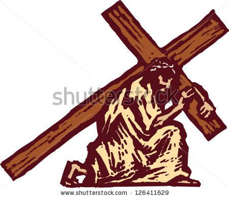 jesus with cross on sh...