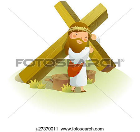 Clipart of Jesus Christ carrying a crucifix on his shoulders.