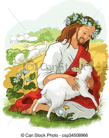 Clip Art Vector of The parable of the lost sheep.