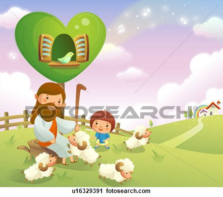 Jesus And Sheep Clipart.