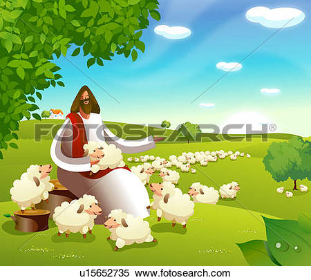 Drawing of Jesus Christ holding a sheep u14474633.