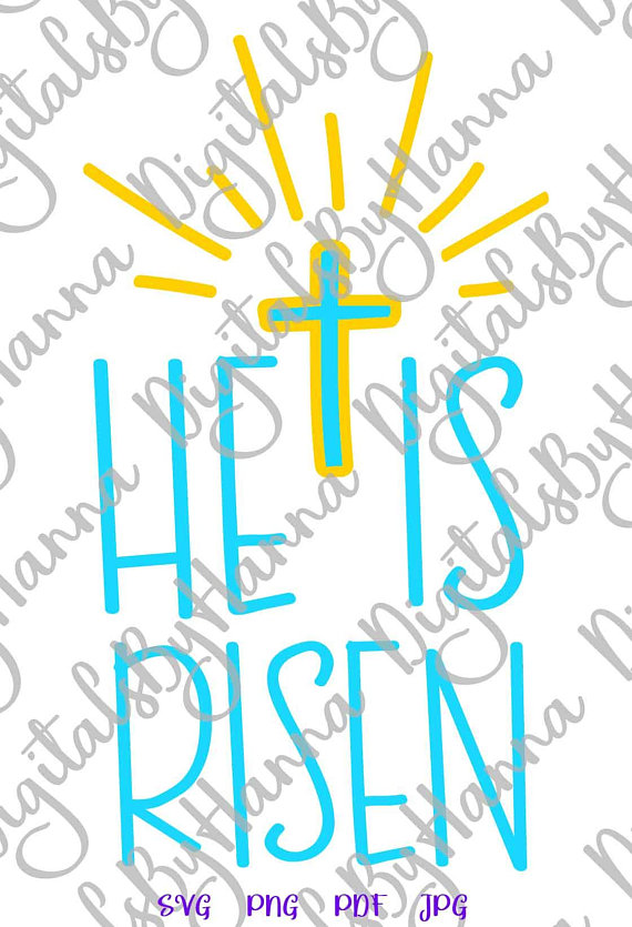 He Is Risen Cross Clipart Religious Christian Jesus Word Print Silhouette  Cut.