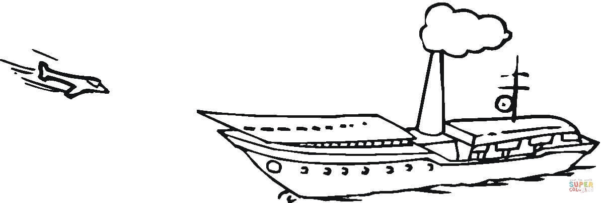 Jet Is Approaching To Aircraft Carrier coloring page.