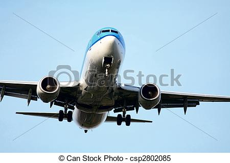 Stock Images of Plane approaching runway.