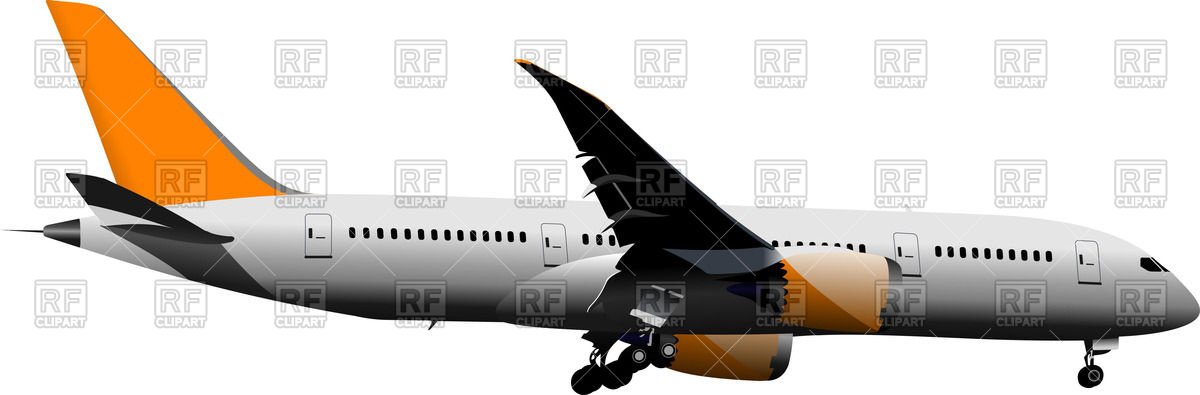 Landing airplane side view Vector Image #57004.
