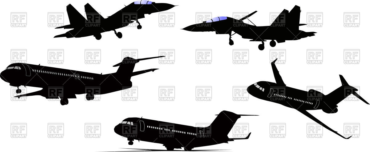 Airplane and jet fighter silhouettes Vector Image #57652.