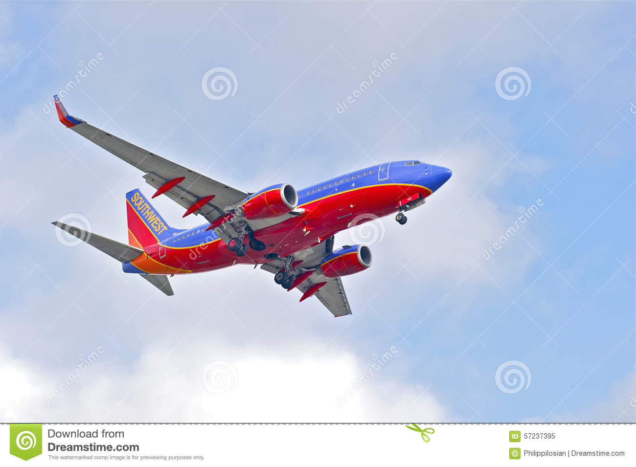 Southwest Airlines Commercial Jet Editorial Image.