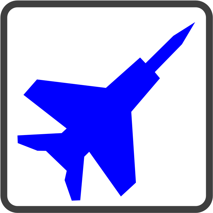 Fighter Jet Blue Icon.