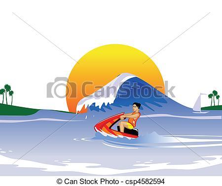 Clip Art of Jet Boat : Man Riding A Jet Ski on.