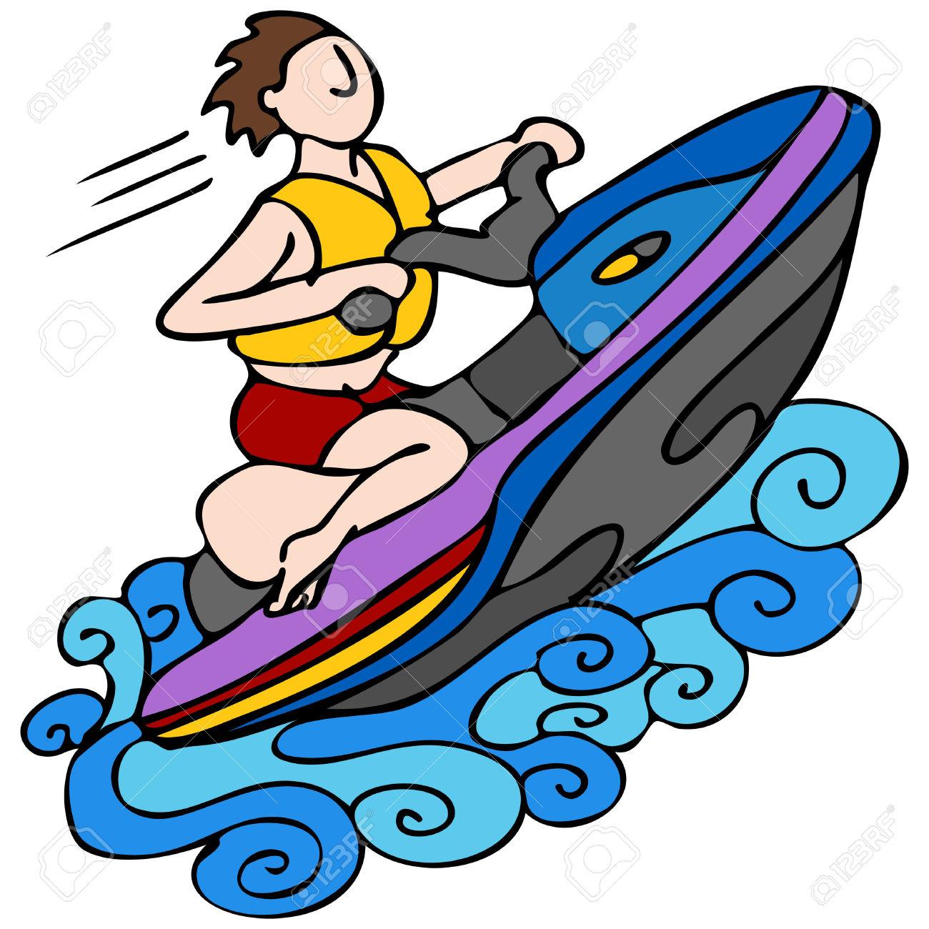 Jet ski boat clipart.