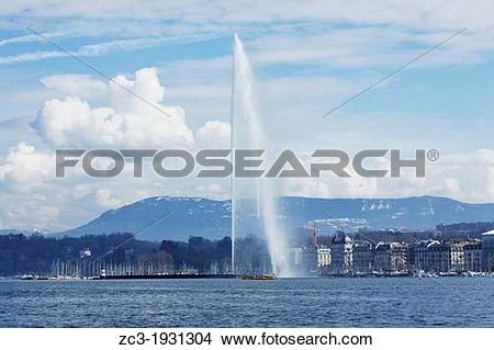 Stock Photo of The monumental water fountain Jet d?Eau at the Lake.