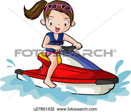 Clip Art of Riding a Jet Ski u14572752.