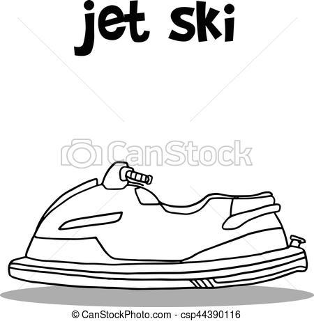 Jet ski transport hand draw.