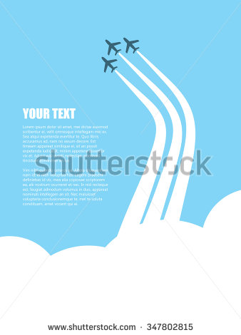 Plane with jet stream clipart.