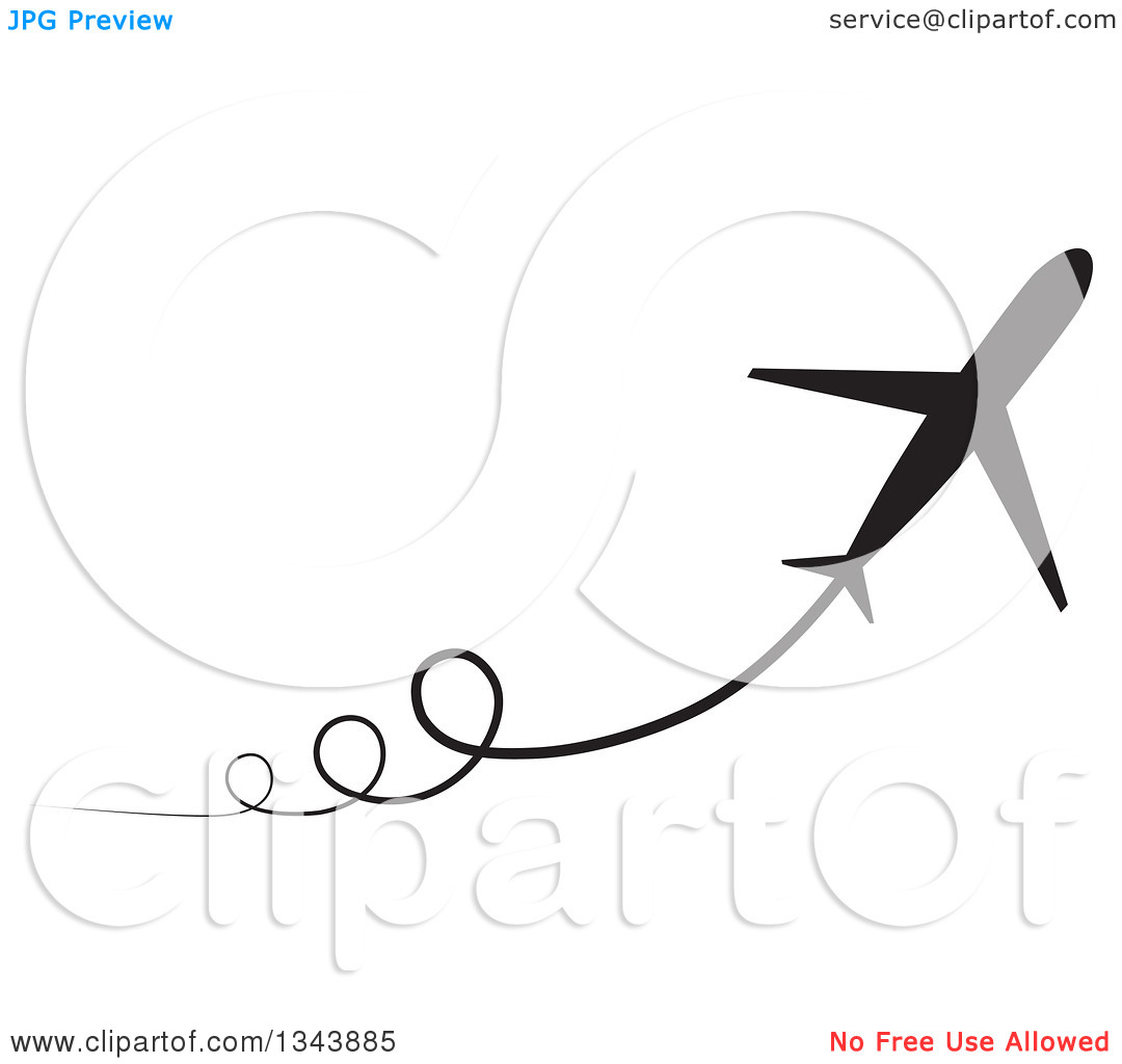 Clipart of a Black Silhouetted Jet with Curly Trails.