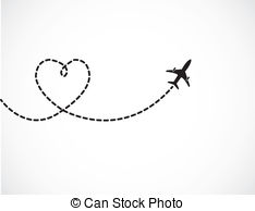 Plane clipart with trail.