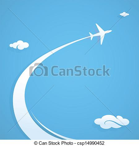 Clipart Vector of Plane trail graphic design illustration with.
