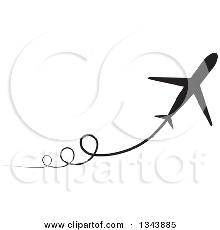 Clipart of Circling Silhouetted Jets with Trails.