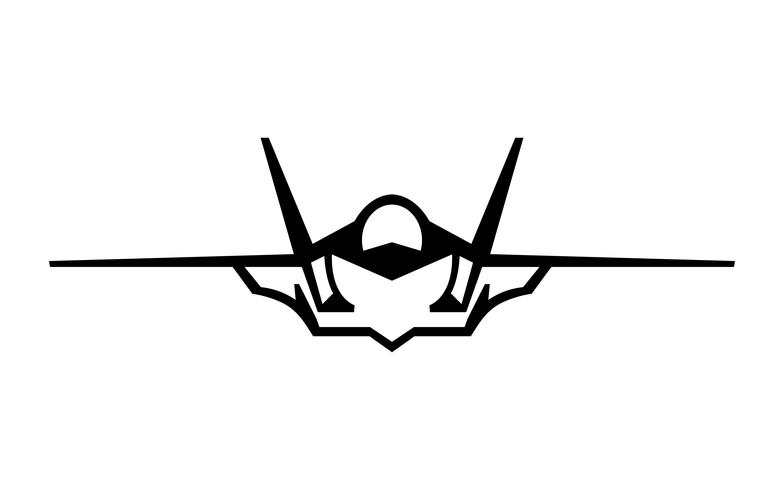 Fighter Jet Vector Icon.