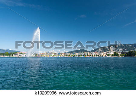Stock Images of Jet D Eau Water Fountain Geneva Mountain k10209996.