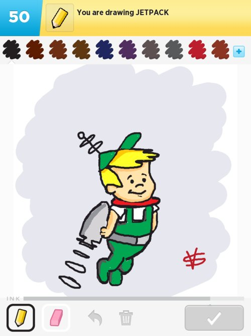 Draw cartoon jetpack.