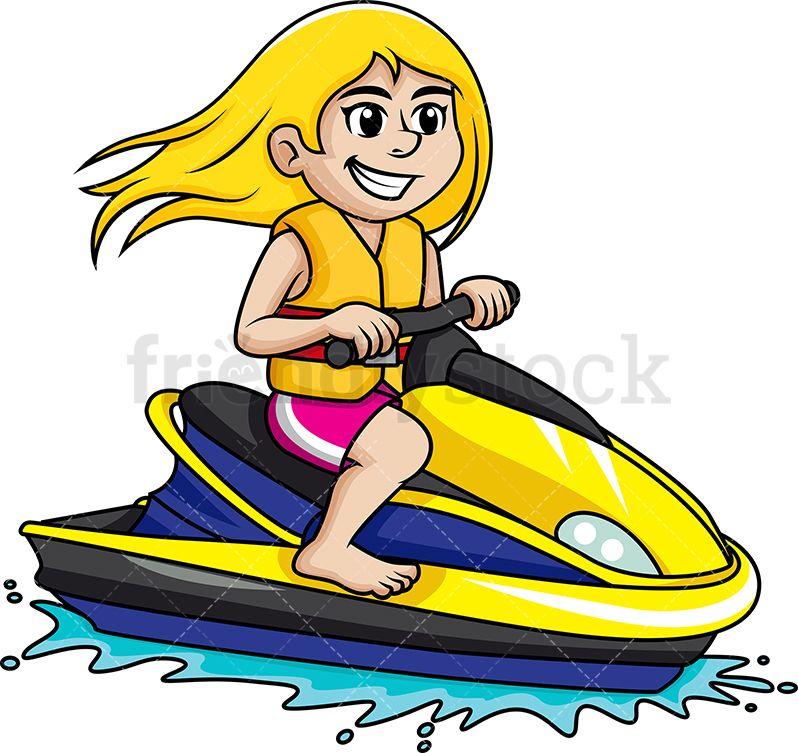 Woman Riding Jet Ski.
