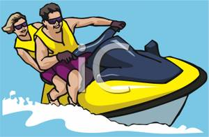 Man And Woman Riding On A Jet Ski.