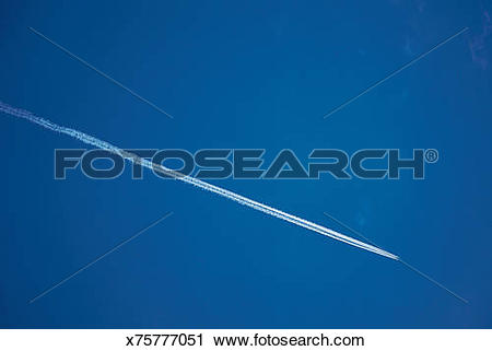 Stock Photography of Jet stream from airplane in sky x75777051.