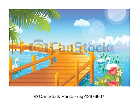 Vector Clipart of Swan and jetty over lake csp12876607.