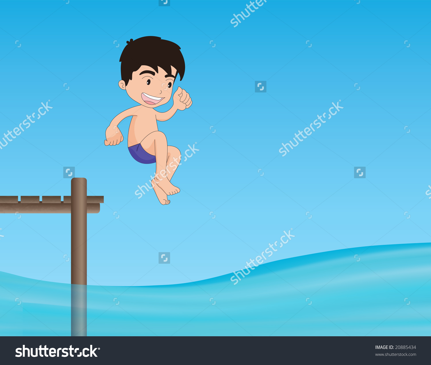 Young Boy Jumping From A Jetty Illustration.