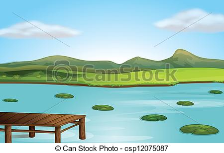 Vector of A jetty and a river.