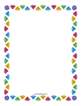 This whimsical border includes several colorful jewels. Free to.