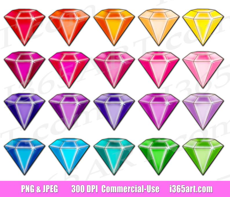 50% OFF Gem Clipart, Gemstone Clip art, Jewel Clipart, Digital Gems,  Diamond Clip art, Rhinestones, Scrapbooking, PNG, Commercial.