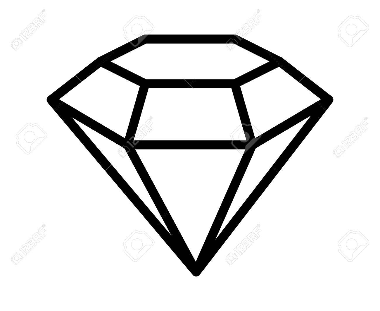 Diamond gemstone, jewel or gem line art icon for apps and websites.