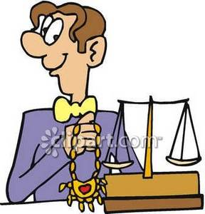Clipart Image of a Jeweler Holding a Necklace.