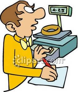 Clipart Image of a Jeweler Weighing a Gold Ring.