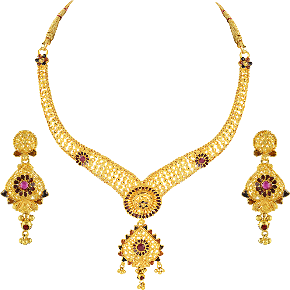 HD Necklace, Earring, Gold, Jewellery Png Image With Transparent.